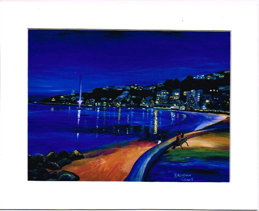 Oriental Bay at Night 8 by 10 inch mat