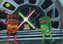 marmite Jar and peanut butter light sabre fight a3 print